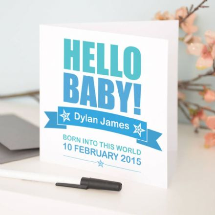 Personalised 'Hello Baby' New Baby Card